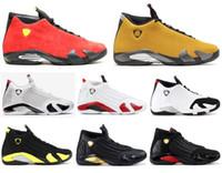 kutu atışı toptan satış-Yeni 14 14 s Şeker Kamışı Siyah Ayak Fusion Varsity Kırmızı Süet Erkekler Basketbol Ayakkabıları Son Shot Ile Thunder Siyah Sarı DMP Sneakers kutu