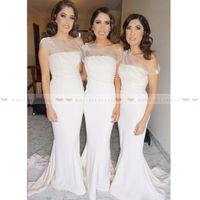Wholesale coral bridesmaid robes resale online - Elegant One Shoulder Long Bridesmaid Dresses New Appliques Satin Formal Party Gowns Cheap Custom Maid Of Honor Dress robe de demoiselle