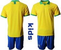 Wholesale brazil soccer jersey neymar for sale - Group buy kids football kits Children Soccer Jerseys Brazil NEYMAR JR P COUTINHO Boy camisa de futebol Sports Jerey sets