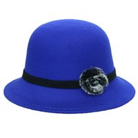 aaa6ba2dec8 2019 New Bucket Hat Women s Crushable Wool Felt Outback Hat Panama Wide Brim  with Flower Chapeau Sombrero