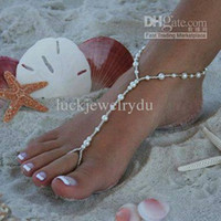 Wholesale beach wedding sandal resale online - HOT HANDMADE beach wedding bridal barefoot sandals stretch anklet with toe ring pc