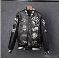 ingrosso giacca da baseball-Giacche da uomo Brand Caual Mens new york pu coat Moda Hip Hop ricamo da baseball NY giacca Felpe