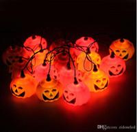 ingrosso luci per zucche di halloween-16 luci a corde a led di zucca Luci a led di zucca arancione di Halloween fantasma ha condotto l'illuminazione delle fate 220V all'ingrosso