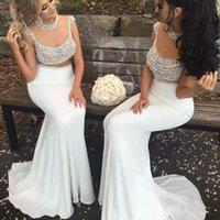 sexy maxi ver a través del vestido al por mayor-Blanco atractivo 2020 de la sirena Vestidos de noche formal de las perlas sin respaldo más el tamaño de fin de curso del partido de partida vestido Wear Opacidad Maxi vestido