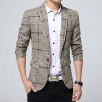 homens vestido profissional venda por atacado-High-end dos homens britânicos blazer xadrez magro, moda masculina banquete vestido casual, tamanho grande negócio profissional vestido de lã casaco