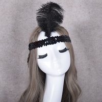 Wholesale orange yellow ostrich feathers resale online - Ostrich Feather Headband Headdress For Festival Party Flapper Feather Headband Flapper Sequin Charleston Costume p