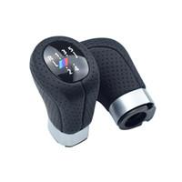 deri kolu toptan satış-Gerçek Deri Vites Topuzu Boot Kapak Sol Tahrik Başkanı Sopa Kolu Kolu Kolu Ile M BMW E87 X1 6 Hız