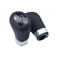 кожаные чехлы оптовых-Ручка переключения передач из натуральной кожи крышка багажника левая головка привода ручка рычага переключения передач с M для BMW E87 X1 6 скорость
