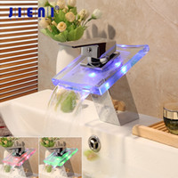 Wholesale chrome hole covers resale online - JIENI Solid Brass Square LED Light Waterfall Bathroom Chrome Cover Plate Deck Mount Wash Basin Sink Tap Mixer Faucet