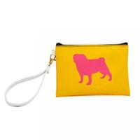 Wholesale wristlet cartoons for sale - Dog Handbag Animal Print PU Leather Cosmetic Bag Women Clutch Zip Pouch with Wristlet