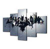 komik sanat batman toptan satış-Batman Dark Knight Comics -1, 5 Parça HD Tuval Baskı Yeni Ev Dekorasyon Sanat Boyama / Çerçevesiz