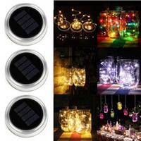 Wholesale screws waterproof resale online - Solar LED Mason Jars Light Up Lid LED String Fairy Star Lights Screw on Silver Lids for Mason Glass Jars