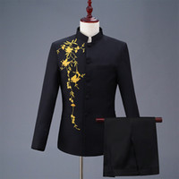 Wholesale chinese tuxedo groom resale online - Embroidered Chinese Tunic Suit Collar Men Suits Wedding Blazers Slim Fit Male Suit Tuxedos Prom Business Groom Suits White