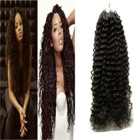 Wholesale dark blonde curly hair extensions online - Micro Loop Hair Extensions G Remy Brazilian afro kinky curly human hair s Loop Micro Ring Human Hair Extensions