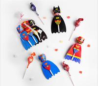 ingrosso borse di avorio favoriscono-120Pcs / Lot Superhero carta Candy Bat Man / Super Man / Wonder Women Lollipop Decoration Card Kids festa di compleanno fai da te regalo della caramella di alimentazione