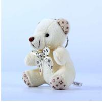 ingrosso portachiavi per giocattoli-Carino peluche pelliccia Pompon Teddy Doll portachiavi donne orso giocattolo portachiavi donne borsa auto catena chiave gingillo festa nuziale regalo di San Valentino