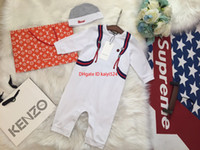 Wholesale baby soft jacket resale online - Baby set baby designer clothing new small bag printing jumpsuit hat material soft warm and comfortable baby suit