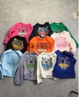 sweatshirt çocuklar ceketler toptan satış-Bebek Giysileri Çocuk Giyim 2019 Sonbahar Yeni Moda Çocuk Pamuk Zarif Kaplan Kafası Nakış Çocuklar Hoodies Tişörtü Ceketler