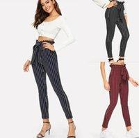 frauen hosen groihandel-Stripe Pants Women Striped Bowknot Hose Art und Weise Falbala Slacks hohe Taille Slim Fit Lässige Vintage Hose Outdoor-Hosen GGA1743