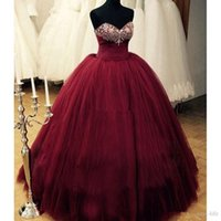 Wholesale romantic dresses for prom resale online - Real Images New Romantic Burgundy Quinceanera Dresses Sweetheart Beaded Tulle Puffy Formal Prom Dress for Sweet Ball Gowns Plus Size