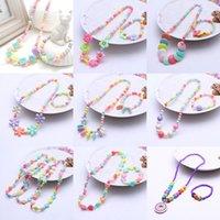 collar de bebé niños al por mayor-Conjuntos de joyas para niños para niñas regalos niños collar conjunto bebé Cuentas redondas Collar colorido conjunto de pulsera Accesorios C5749