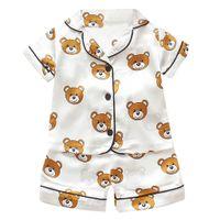 Wholesale girls summer pajamas short set resale online - Pajamas set for children Summer Boys Girls Kids home Clothing Cartoon short Sleeve baby Sleepwear Suit Children s Day gifts