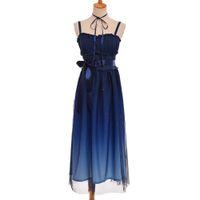 tip kız elbiseleri toptan satış-Kadınlar Tatlı Lacivert Degrade Renk Lolita Peri Yıldızlı JSK Kızlar Askı Elbise Kısa / Uzun Tip Yeni