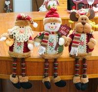 plush snowman großhandel-2019 New Design Weihnachtsdekorationen sitzen Weihnachtsmann Weihnachtsmann Schneemann-Figur-Plüsch-Spielzeug-Partei-Dekorationen DC840