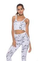 dans sporu sütyenleri toptan satış-Kadınlar Baskı Yoga Set Spor Salonu Spor Koşu Eşofman Koşu Dans Spor Takım Elbise Egzersiz Giyim Spor Pantolon Sutyen Seti
