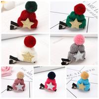 meninas malha chapéus flor venda por atacado-Hairpin Decorações de Natal Moda Wool Clipe Cap Grampos Knit Hat Cabelo Crianças de flor de cabelo acessórios meninas Barrettes GGA2947-b