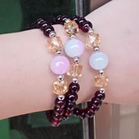 hebras de perlas al por mayor-Fancy Moon Bracelet Healing Beaded Woman Ladies Purple Stone Bracelet Beaded Strands Crystal Bracelet Double Color Pearl Transfer