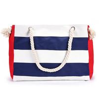 bolsas listradas brancas azuis venda por atacado-Moda listrada sacola de algodão azul branco ou vermelho branco lazer compras carregando saco mulheres bolsa