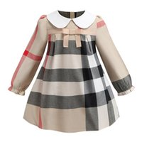 Wholesale high collar ball dresses resale online - long sleeve INS spring new styles European and American styles girls Lapel high quality cotton big plaid dress A342