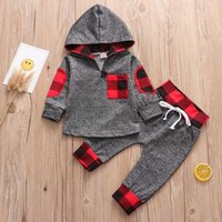 2Pcs Baby Boys Clothes Set Autumn Red Plaid Newborn Infant Outfit Cotton Hooded Top Pants Casual Toddler Kids Clothing Suit