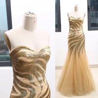 metallisches tüllkleid großhandel-Metallic Gold Gemusterte Schatz bodenlangen langen Perlen Tüll Prom Partykleid Formelle Abend Ballkleid XS