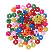 детали бортов оптовых-Wholesale 100Pcs/lot Multicolor Clear Acrylic Flat Round Abacus Bead Cheap Decoration Big Hole DIY Bead For Bag Parts