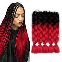 Wholesale braiding hair for box braids for sale - Group buy B Red Ombre Braiding Hair Extension Synthetic Kanekalon Fiber for Twist Braiding Hair Tone Jumbo Box Braiding Hair quot
