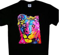camisa fresca do leão venda por atacado-Jovem Leão Multicolor Neon Cool t'shirt Camiseta preta Impressão t-shirt