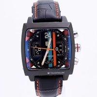 relogios mecânicos quadrados venda por atacado-Relógio de alta qualidade dos homens TAG Movimento Automático marca de Luxo relógios Mecânicos pulseira de Couro Homens esportes quadrado relógios de Pulso cronógrafo AAA
