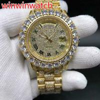 saat kılıfı ayarla toptan satış-Büyük çatal seti elmas çerçeve bilek İzle 43 MM tam buzlu dışarı altın vaka otomatik çatal seti büyük elmas saatler