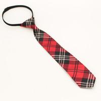 застежка-молния оптовых-1 шт предварительно связали студентов молнии галстуки для мужчин мальчики девочки тонкий узкий галстук с Шотландией сетки красный цвет 5 см