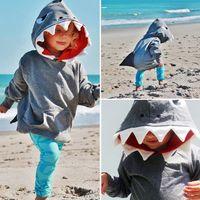 roupa do tubarão dos miúdos venda por atacado-Criança Crianças Meninos tubarão com capuz Tops Brasão Hoodie Jacket Roupa Casacos