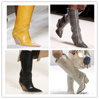 Wholesale high heeled long boots resale online - 2020Toe Fashion Designer Strange High Heels Real Leather Women Shoes New Autumn Winter Boots Runways Long Woman Boots