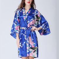 gevşek pijama toptan satış-Kadın Gevşek Tarzı Pijama Ev Pijama Lace Up Çiçek Baskı V Yaka Gece Kıyafeti Kimono Yukata Robe Gecelik