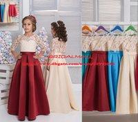 bordo kızlar için gelinlik toptan satış-Gerçek Görüntüler !! Boncuklu Aplike Bordo Saten Çiçek Kız Elbise Sheer Yarım Kollu Çocuk Örgün Parti Elbise Glitz Çocuklar Düğün Pageant Elbise