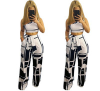 eab4079deb Womens Set Summer White Letter Printed T Shirt Sexy Cropped Tops +Striped  Pants Calf Length Casual Tracksuit