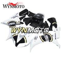 plásticos da motocicleta do mercado de acessórios venda por atacado-Lucky strike branco preto injeção de plástico carenagem para yamaha yzf1000 r1 2002 2003 completa capota aftermarket moto abs carroçaria