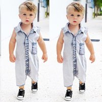 Wholesale infant boys rompers gray for sale - Group buy US STOCK New Summer Boys Kids Denim Rompers Newborn Baby Sleeveless Jeans Romper Infant Boy Children Jumpsuit Clothes Outfit
