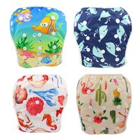 Wholesale nappy fastener baby diapers resale online - One Size Fits All Unicorn Animals Print Swimming Diaper Baby Boys Girls Waterproof Diapers Newborn Designer Reusable Baby Diaper Nappy Cover