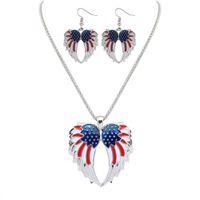 patriotischen schmuck großhandel-Neue Gold Versilbert Independence Day USA Flagge Patriotische Flügel Design Frauen Halskette Ohrringe Schmuck-Set für Dame heiß